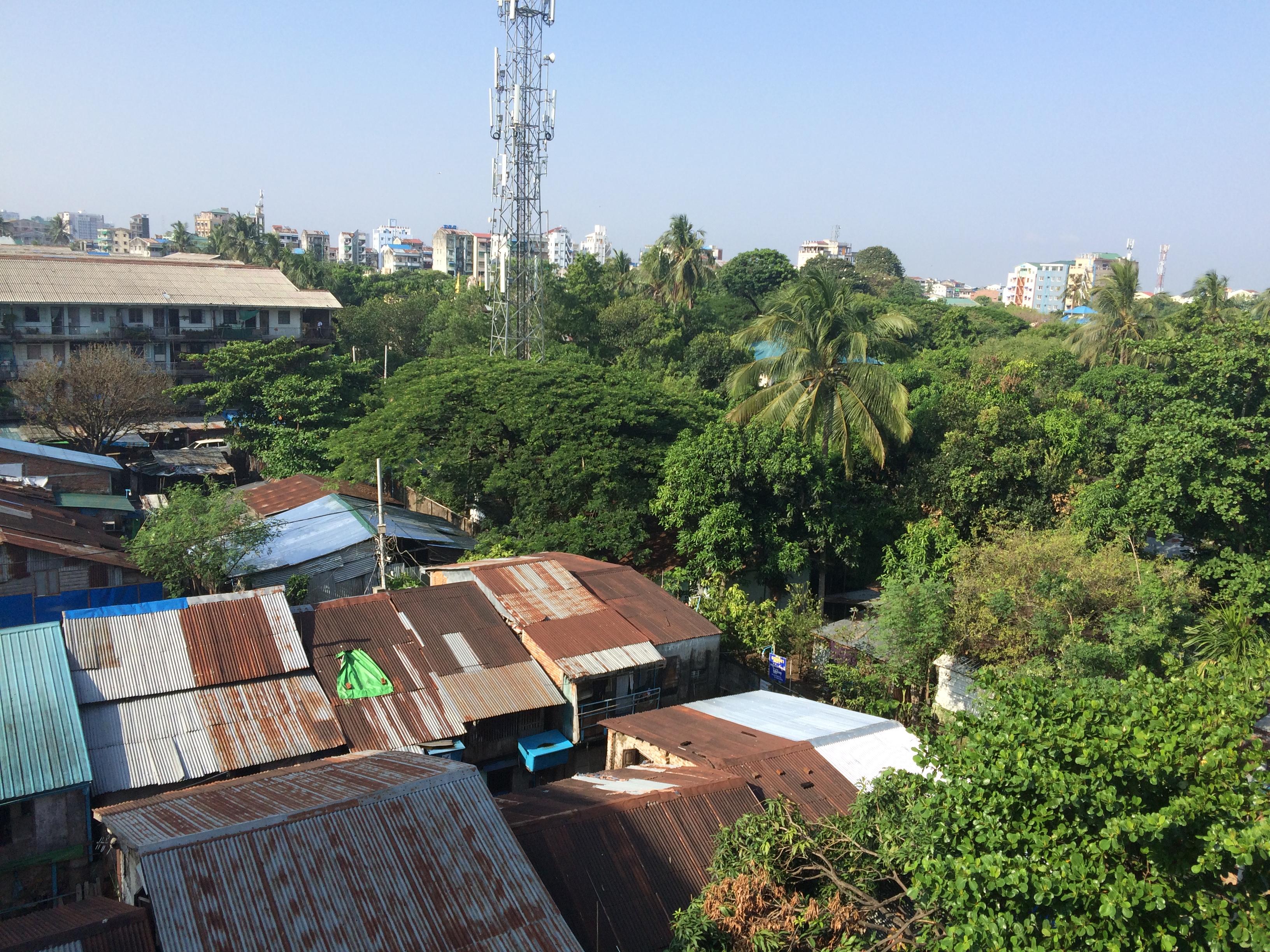 Ankunft in Myanmar: Blick ins Grüne aus dem Wohnzimmer